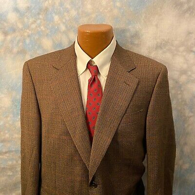 Canali Sz 40 R Brown Plaid Wool Two Button Men's Blazer ITALY
