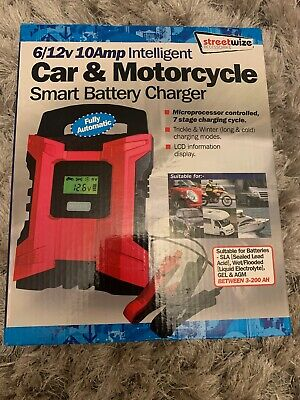 Streetwize Car & Motorcycle 6/12V 10Amp Universal Smart Battery Charger ~ SWIBC3