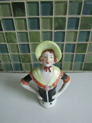Vintage Porcelain Pin Cushion Doll Bonnet Lady Half Doll Figurine Germany