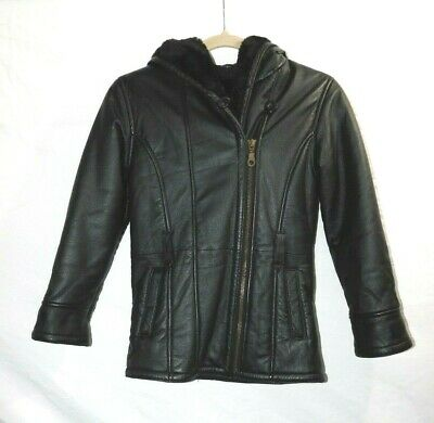 Wilsons Leather Girls Black Leather Jacket L Faux Fur Lined w Hood Belt Loops @
