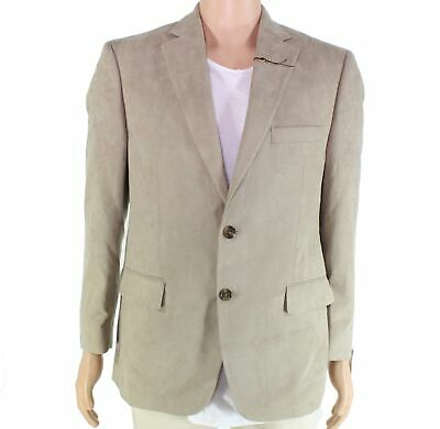 Tasso Elba Mens Sports Coat Beige Tan Size 46L Microsuede Classic-Fit $200 #010