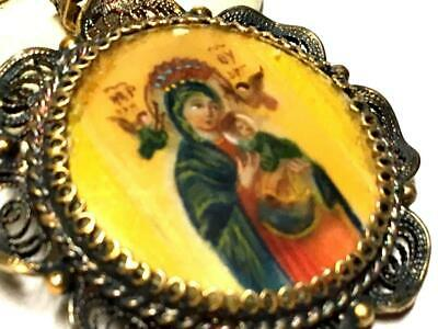 Beautiful Antique Silver Filigree Hand Painted Mary & Baby Jesus Medal Pendant