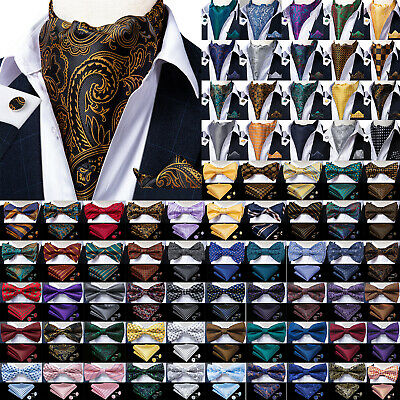 150 Color Mens Silk Bowtie Ascot Cravat Set Self Pretied Bow Tie Hanky Cufflinks