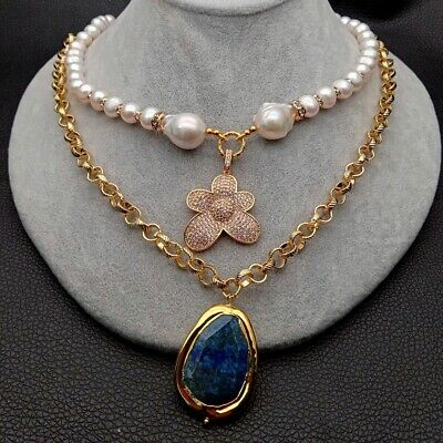 """Valentine's Day gift Freshwater White Pearl Lapis Chain Necklace 18"""""""