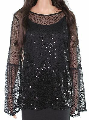 INC Black Womens Blouse Size Large L Sequinned Illusion Bell-Sleeve $79 #159