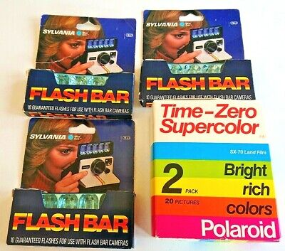 Polaroid SX-70 Time-Zero 2Pack &Sylvania Flash Bar set of 3