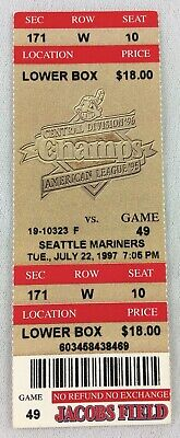 MLB 1997 07/22 Seattle Mariners at Cleveland Indians Ticket-David Justice HR