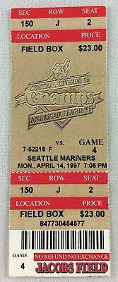 MLB 1997 04/14 Seattle Mariners at Cleveland Indians Ticket-Dennis Martinez WP