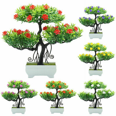 Artificial Flower Plant Tree Potted Bonsai Office Garden Home NewYear Ornament
