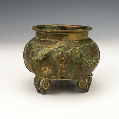 Antique Chinese Oriental Bronze Censer Or Bowl - Unusual!