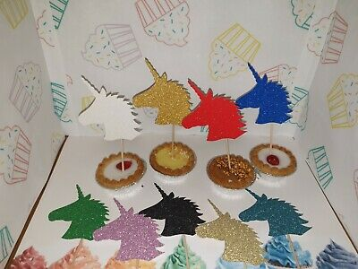 Unicorn Cupcake Picks Glitter Card Girls Birthdays Mystic Animal 12 Pack