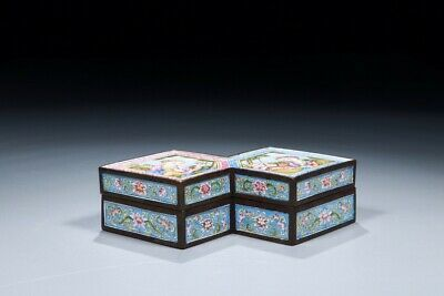 A Rare Chinese Antique Qing Dynasty Imperial Enamel Painted Bronze Box With Mark