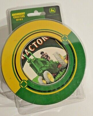 Set Of 4 John Deere Naturestone Coasters With Natural Cork Backing New In Pack