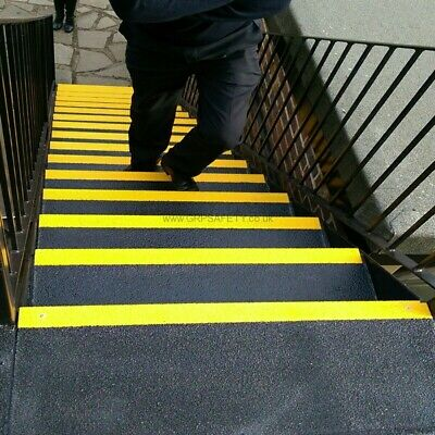 10 x GRP yellow black industrial stair tread 750x 55 x 55 mm coarse grit surface