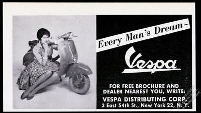1959 Vespa Scooter moped & pretty woman photo Every Man's Dream vintage print ad
