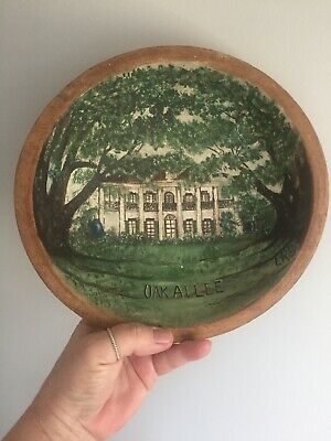 Vintage Wood Bowl Dough Turned Hand Painted Folk Art Southern Mansion Signed