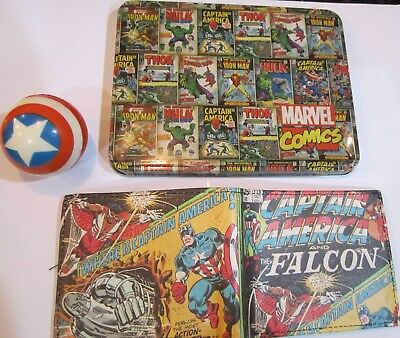 Captain America Falcon Slim-Fold Wallet Collector Tin & Stress Ball Marvel 074