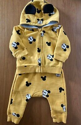 Disney H&M Mickey Mouse Mustard Yellow Baby Boys Tracksuit 2-4 Months