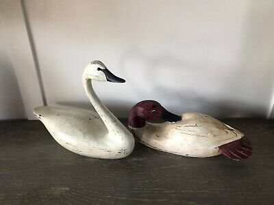 Wooden Carved Swan & Duck Set Of 2 Home Decor