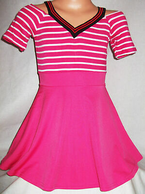 GIRLS PINK & WHITE STRIPE SPORTY STYLE CHEERLEADER MINI PARTY DRESS TOP age 5-6