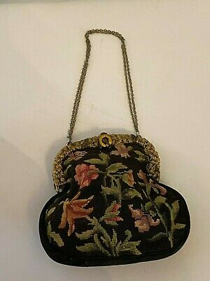 French Petit Point Antique Purse Tapestry Handbag Needlepoint Floral Design.