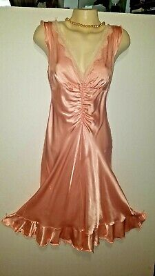 Frederick's of Hollywood Vtg 70's Shiny wet Satin  Pink Nightgown Dress sz 8 36""