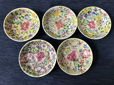 Vintage Hand Painted Chinese Porcelain Small Dish  Paint set of 5