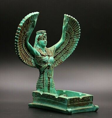 Rare EGYPTIAN ISIS WINGED GODDESS Antiques EGYPT STATUE 10 Small SCARAB STONE BC