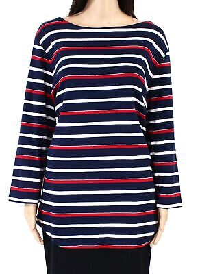 Charter Club Womens Top Blue Red Size 2X Plus Knit Striped Shimmer Boatneck #149