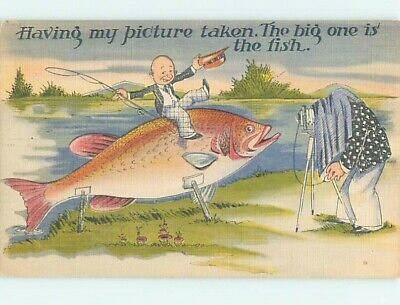 Linen fishing exaggeration ANTIQUE CAMERA TAKES PICTURE OF HUGE FISH HL3430