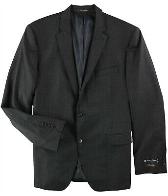 Tasso Elba Mens Suit Charcoal Black Size 42 Long Two Button Wool $570 #016