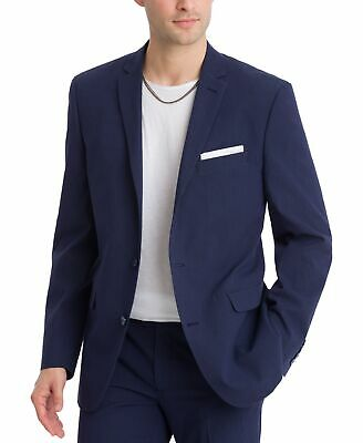 Bar III Mens Blazer Blue Size 38 Long Seersucker Slim Fit Two Button $275 #036