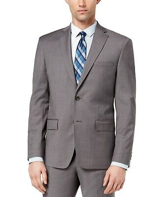 DKNY NEW Gray Mens Size 40 Long Plaid Two Button Wool Blazer Sportcoat $525 #118