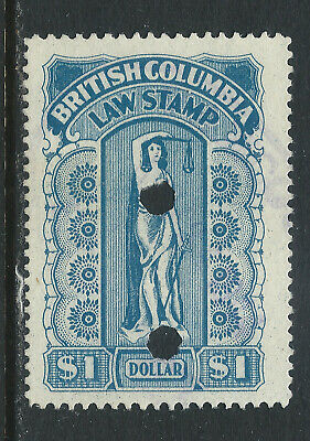 Canada #BCL26(3) 1912 $1.00 blue BRITISH COLUMBIA LAW STAMP Punch Cancelled