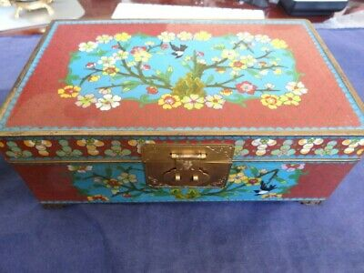 Very Fine Heavy Antique Chinese Japanese Cloisonne Birds Flowers Jewelry Box