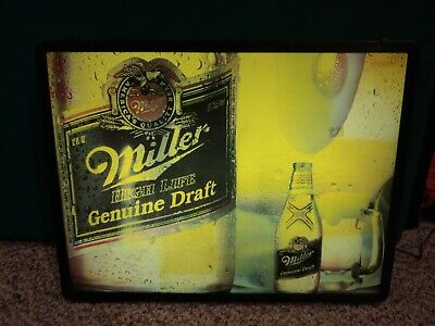Vintage 80's 1986 Miller High Life Genuine Draft Beer Illuminated Bar Wall  Sign