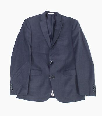 Bar III Mens Blazer Navy Blue Size 38 Slim Fit Two Button Wool $425 #032