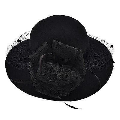 Black Women Wool Floral Veil Netting Feather Wide Brim Derby Party Hat A322