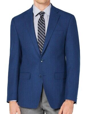Calvin Klein Mens Suit Jacket Blue Size 46 Two Button Wool Slim Fit $182 #013
