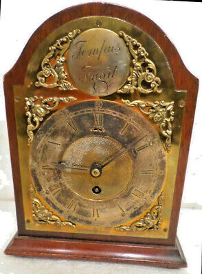 1899 Arch Top Tempus Fugit Brass Dial Signed Winterhalder German Bracket Clock