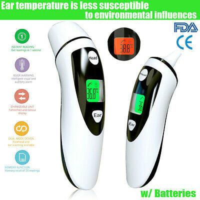IR Infrared LCD Digital Non-contact Forehead Ear Thermometer Medical Baby Adult