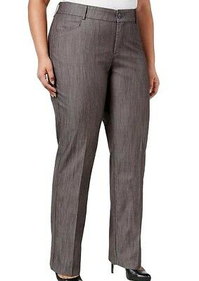 Lee Women's Gray Size 24W Plus Eased Fit Madelyn Dress Pants Stretch $60 #129