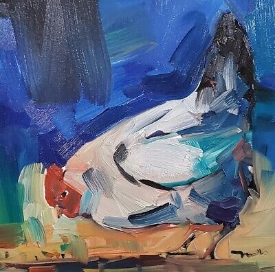 JOSE TRUJILLO Oil Painting CHICKEN IMPRESSIONISM CONTEMPORARY ARTWORK SIGNED