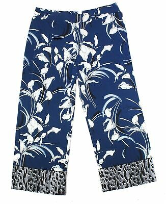 Alfani Women's Blue Size 0X Plus Floral Wide Leg Pull On Pants Stretch $69 #209