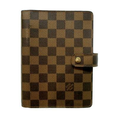 Authentic LOUIS VUITTON Agenda MM notebook cover R20240 Damier Used canvas LV