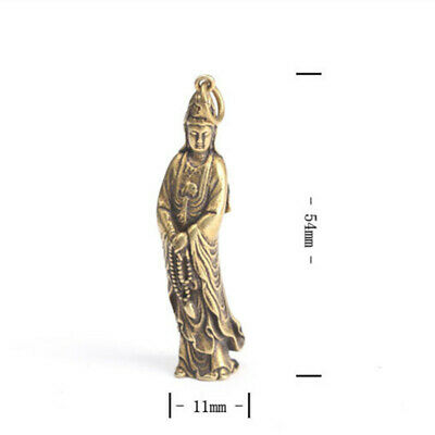 1Pc Chinese Old Collection Handwork Brass Guanyin Bodhisattva Pocket Statue