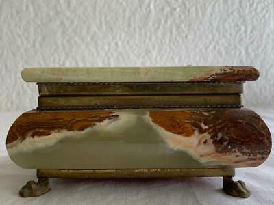 Lovely Vintage Hand Made Footed Brass / Marble Heavy Vanity Jewellery Box
