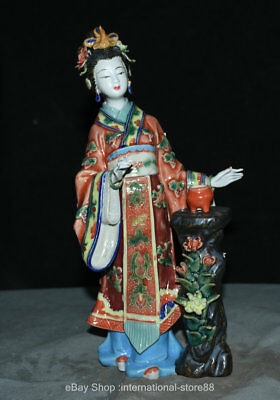 "11.6"" Old Chinese Wucai Porcelain Dynasty Palace Beautiful Woman Censer Statue"