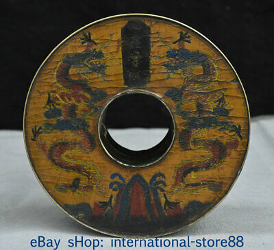 """6.2"""" Old China lacquerware Bronze Dynasty Palace Double Dragon Jewelry box"""