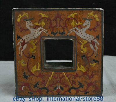"""7.4"""" Old China lacquerware Bronze Dynasty Palace Deer Flower Jewelry box"""